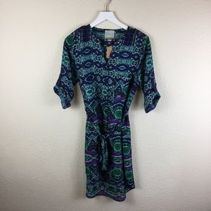 Maeve Anthropologie Blue/Jade Shirt Dress